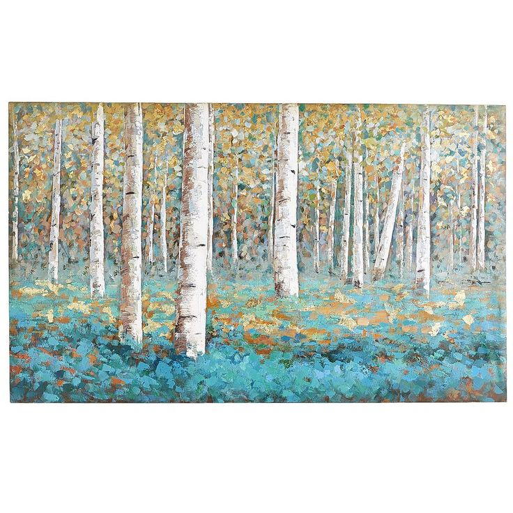 Luxe Teal Birch Tree Art | Pier 1 Imports