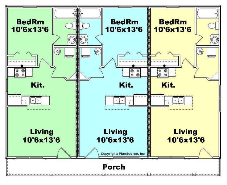 Triplex 1 floor plan apartment buildings pinterest for Triplex floor plans