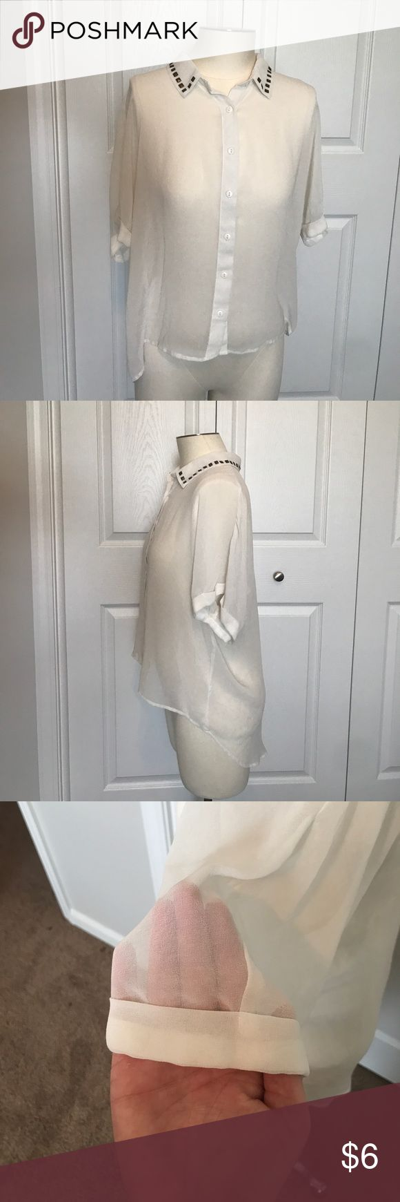 Chiffon Hi-lo Button Down Studded Shirt Cream chiffon shirt. I have a picture with my hand to show how see thru it is. It has antiqued studs all the way around the collar. The short sleeves are cuffed. Size L. Forever 21 Tops Button Down Shirts