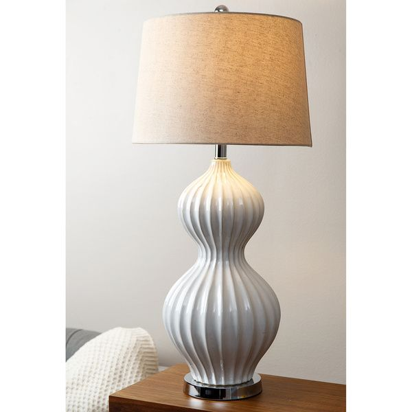 ABBYSON LIVING White Fluted Table Lamp Overstock Shopping Great Deals on Abbyson