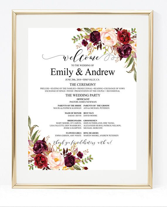 Burgundy Wedding Program Poster Template Large Ceremony Printable Editable Board 030