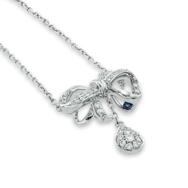 Vera Wang LOVE Collection 1/5 CT. T.W. Diamond Bow with Teardrop Necklace in Sterling Silver