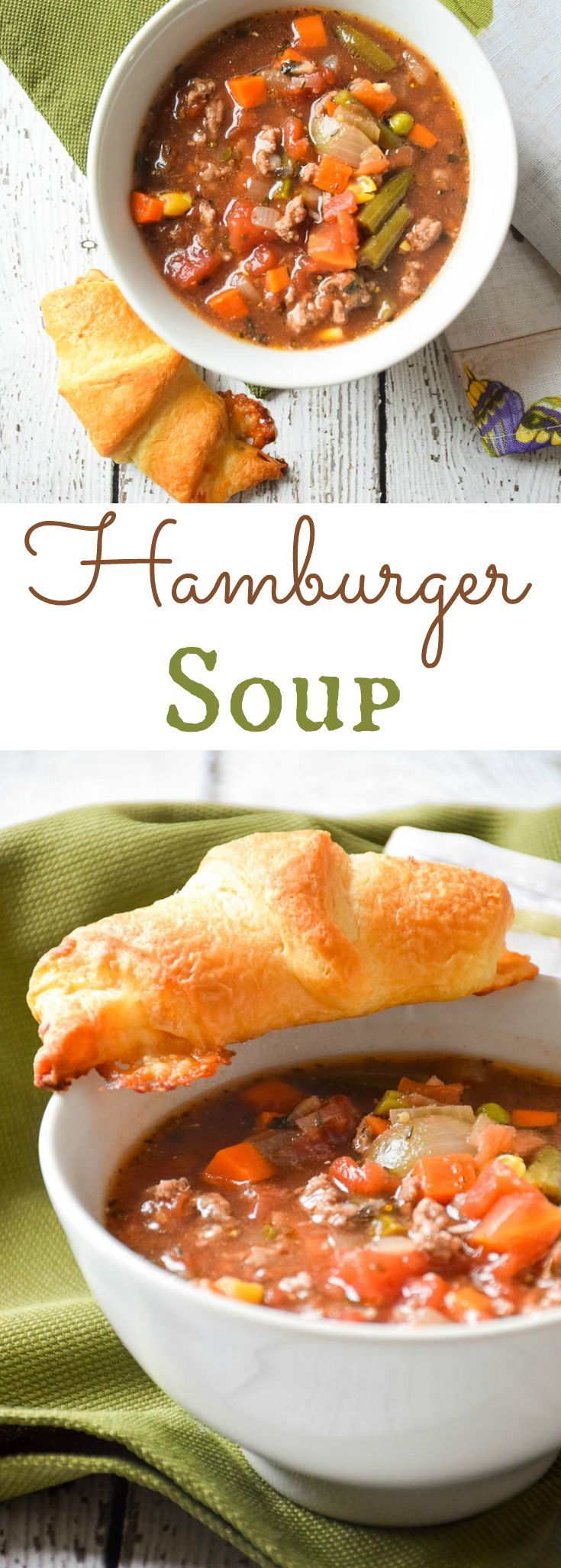 Hamburger Soup is a quick and easy meal to make for those busy weeknights. This delicious dish use ground beef, frozen veggies, and canned tomatoes!