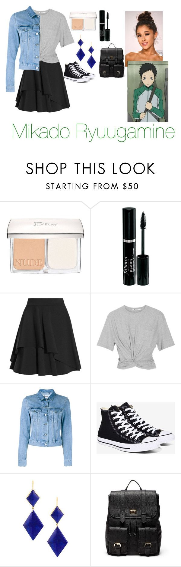 """""""Mikado Ryuugamine"""" by charbear231 ❤ liked on Polyvore featuring Christian Dior, Alexander McQueen, T By Alexander Wang, Acne Studios, Converse, Marie Hélène de Taillac, Sole Society and Forum"""