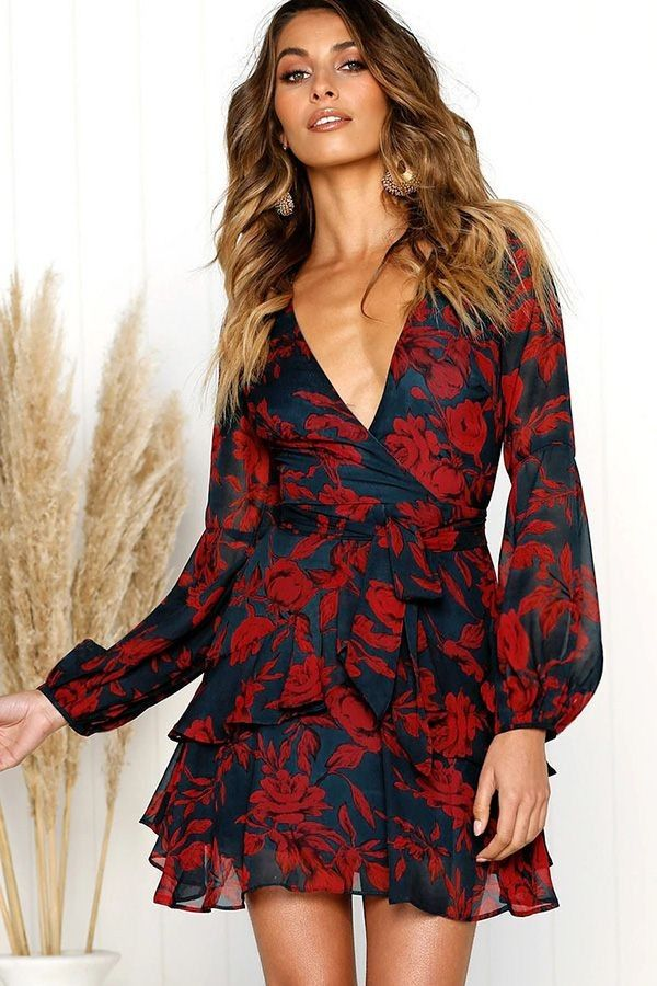 35c545e474a Red Floral V Neck Ruffles Long Sleeve Casual Dress in 2019 | Dresses ...