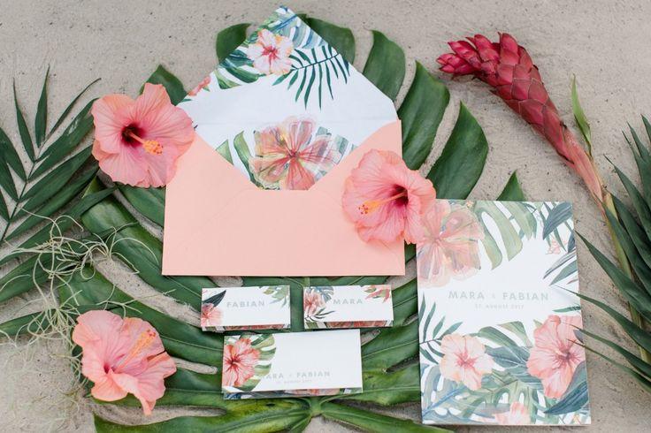 Tropical wedding invitation suite