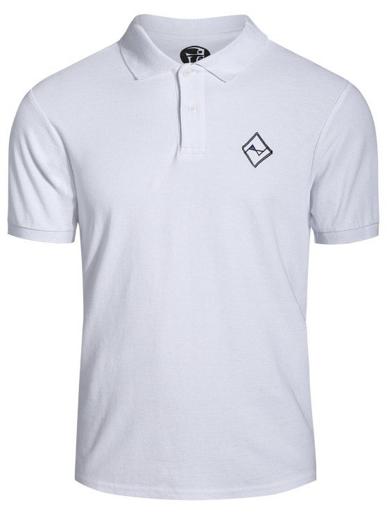 AD : Men Embroidered Polo T Shirt - WHITE   Style: Casual   Material: Cotton Blends   Sleeves Length: Short   Collar: Turn-down Collar   Pattern Type: Others   Weight: 0.3200kg   Package: 1 x T-shirt