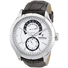 Festina Men's Analogue Watch F16573/2 with Leather Strap and Silver Dial