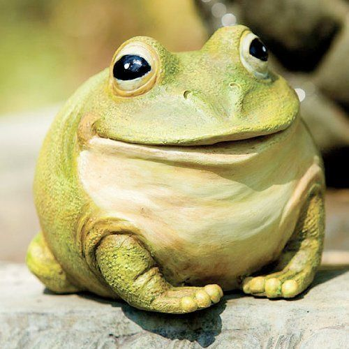 """Garden Decor Medium Portly Frog by Outdoor Decor. $16.78. 6""""L x 5""""W x 4.75""""H. Hand-painted resin. An adorable addition to your yard or garden. Also functional as a key hider. Smiling like he just finished a supper of sweet bugs, this green frog is wide-eyed and sprightly. A playful addition to your garden or yard, he is a distinctive statuary with a friendly personality. What a wonderful complement for your outdoor space."""