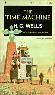 Big oven as flying machine - 1964 cover of H.G.Wells 'The Time Machine'
