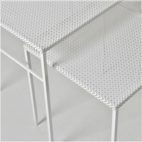 White perforated metal tables Artemeta | Bert & May