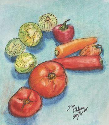 tracyfeldmanartblog: Yum ... Late Summer Veggies!