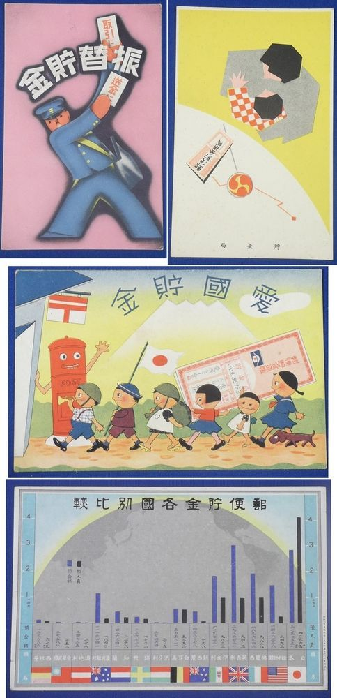 1930's Japanese Postcards : Government's Advertising of Postal Savings for War Fund Raise Purpose with Patriotic Slogans / Patriotic Children Art / Wartime Economic Propaganda / vintage antique old military war art card / historic history paper material Japan