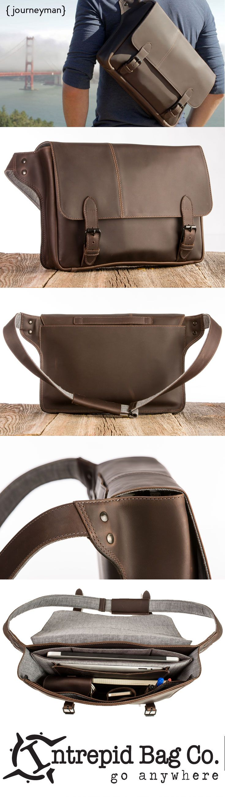 The Journeyman Commuter Leather Laptop Bag. Perfect for your every #EDC need. An adventure in a bag that Indiana Jones would be jealous of! Available now at www.IntrepidBags.com