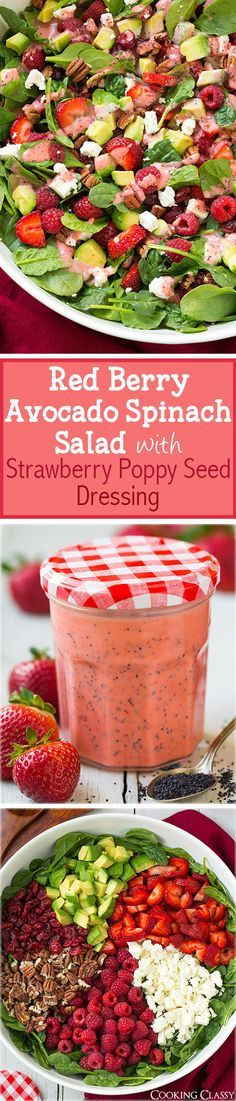 Strawberry Raspberry Cranberry Avocado Spinach Salad with Strawberry Poppy Seed Dressing   Cooking Classy