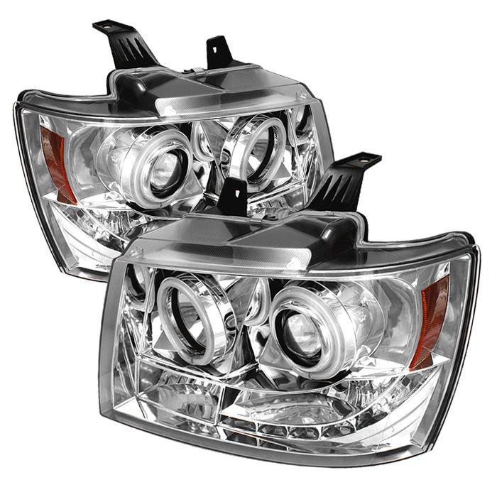 2007-2013 Chevy Suburban Chrome/Clear Projector Headlights- Spyder Auto - Pair - 2007, 2008, 2009, 2010, 2011, 2012, 2013.