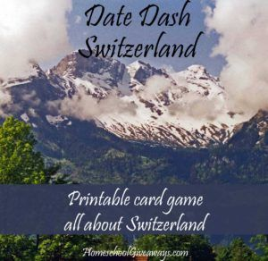 FREE Date Dash Switzerland – Swiss History Card Game. Test your knowledge of Swiss history with this free printable card game. All thirty questions include two levels of difficulty, so it's perfect for middle school or high school. Or, combine it with other printable games in this series and test your knowledge of multiple countries at once!  Download your copy today, and have fun learning Swiss history! - WriteBonnieRose.com