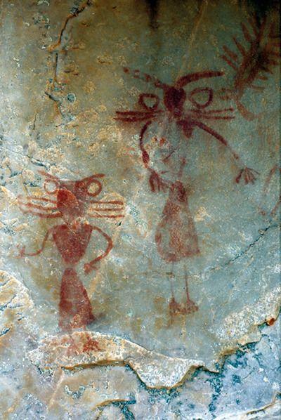 Aldeaquemada. Jaén. Se especula con que la figura de la izquerda represente a una mujer y la de la derecha a un hombre.