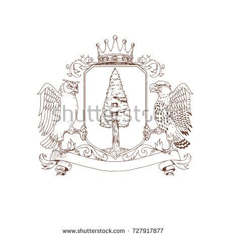 Drawing sketch style illustration of coat of arms showing an Owl and Hawk as supporters on side with Redwood tree and nest inside crest and Crown on top and ribbon banner scroll isolated background.  #coatofarms #sketch #illustration