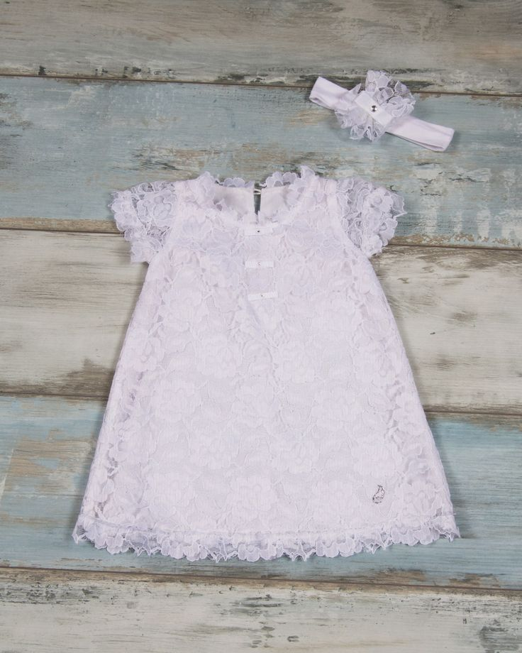 Handmade dress with embroided lace and stras details with matching headband