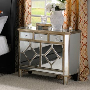 Manhattan Mirrored Wood Cabinet | Kirklands
