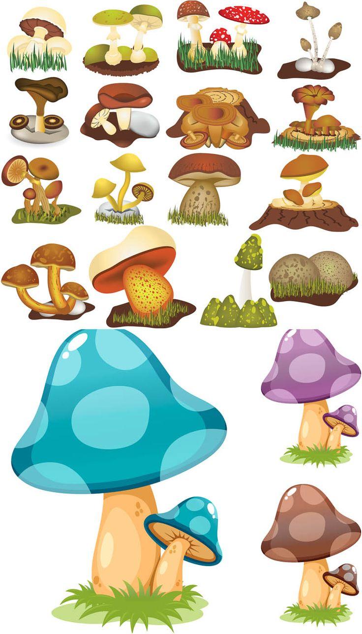 Cartoon Mushroom Drawings | Cartoon mushrooms vector