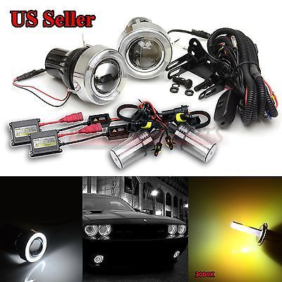 """For vw usa 3"""" projector fog #lights+white led #angel #eyes+switch+3000k ac hid ki,  View more on the LINK: http://www.zeppy.io/product/gb/2/122101247598/"""