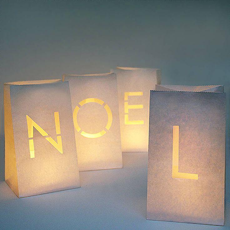 Set Of 'Noel' Paper Lanterns