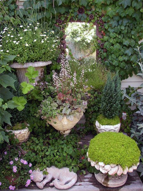 love the mossy look in urns