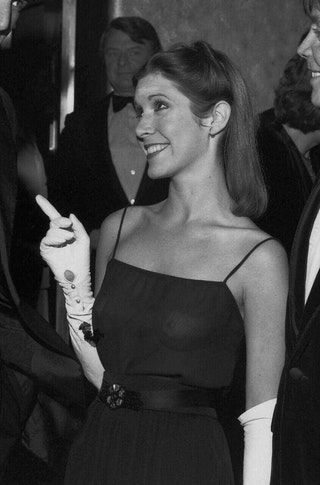 Carrie Fisher at Star Wars premiere, 1977
