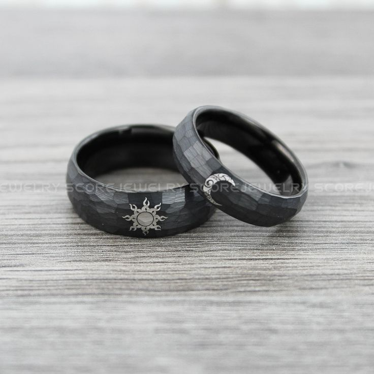 FREE Custom Engraving 2 Piece Couple Set Black Tungsten Bands Hammered Finish Black Interior Tribal Sun and Moon Wedding Rings