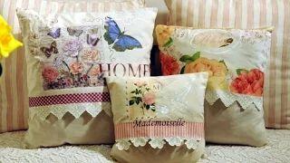 como decorar un almohadon vintage con servilletas imitacion puntilla con pintura - YouTube