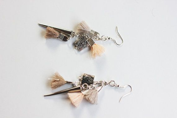 Pastel goth rock statement earrings,Silver bohemian boho tribal earrings,Tassel statement rock and roll silver earrings,Unique goth earrings