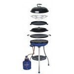 Cadac Carri Chef Deluxe Combo - All-in-one outdoor cooking convenience. Includes five interchangeable cooking surfaces allowing for a variety of cooking options. These include the reversible flat and ribbed griddle, the skottel top, compressed grid, pot stand and the BBQ dome or lid can be used for indirect cooking. The push-button piezo ignition makes it easy to light and includes a 2-position control valve for pre-set flame settings.