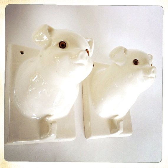 vintage glossy white ceramic pig wall hook by amysvintagedecorium, $28.00