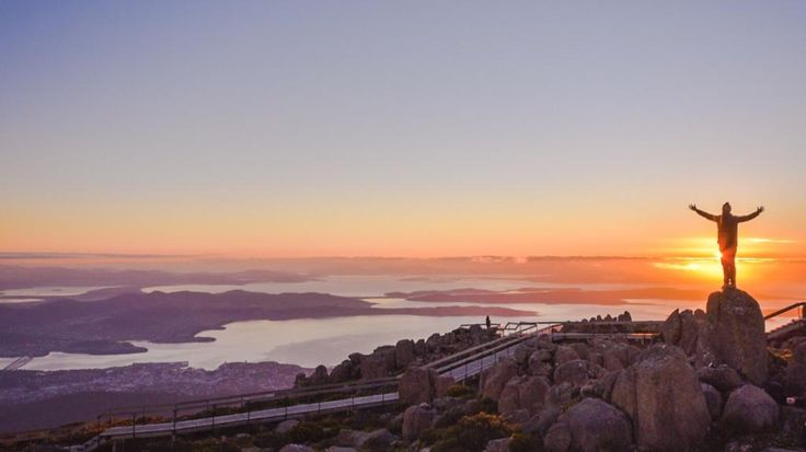 No better way to greet the day, than with arms wide open & golden sunlight kissing your skin. Top of Mount Wellington, Tasmania. credit goes to Paul Fleming https://twitter.com/lovethywalrus