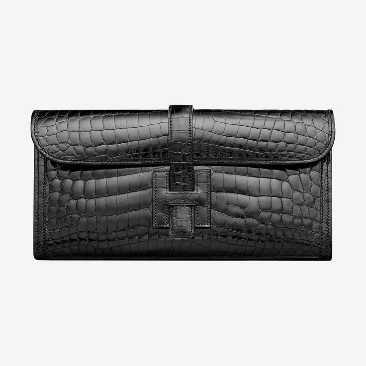 Hermes clutch in polished Niloticus crocodile