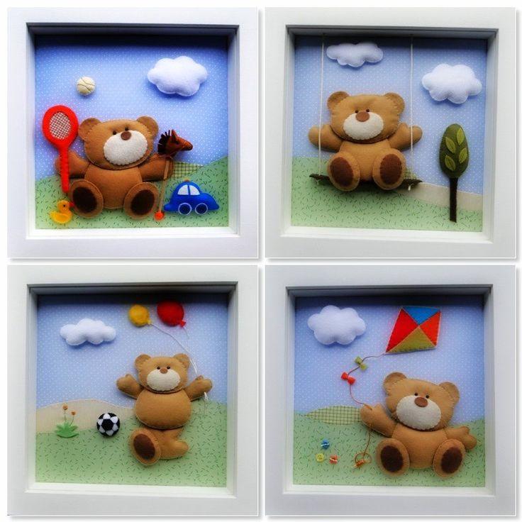 : Ursos - quadro 30X30 com opção para vidro