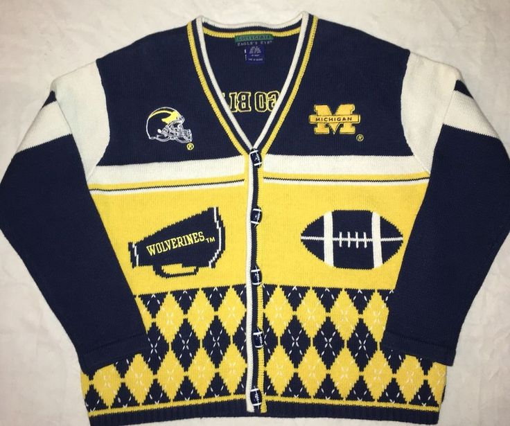 Eagle's Eye Collegiate Size M Sweater University of Michigan Wolverines Football #EaglesEye #Cardigan #Sports