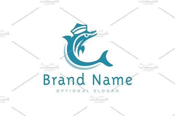 Dolphin Sailor Logo Templates Logo design with concept of dolphin wearing characteristic sailor's hat. Dolphin symbolism is common by Zack Fair Design