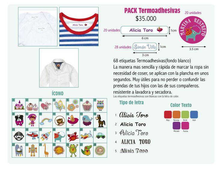 68 etiquetas Termoadhesivas(fondo blanco) La manera mas sencilla y rápida de marcar la ropa sin  necesidad de coser, se aplican con la plancha en unos  segundos. Muy útiles para no perder o confundir las  prendas de tus hijos con las de sus compañeros.
