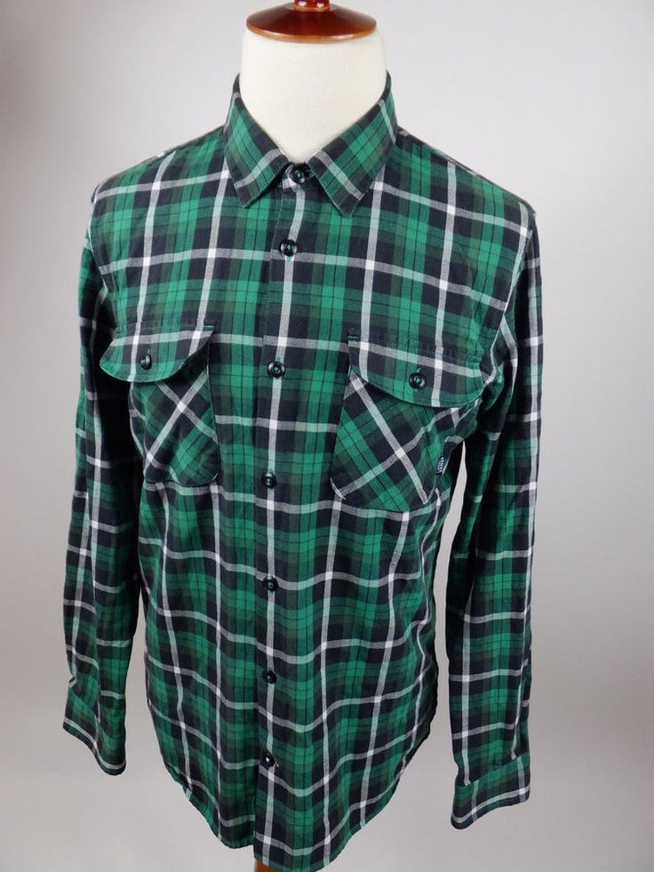Vans ANTHONY VAN ENGELEN Plaid Flannel Long Sleeve Button Green Shirt Men Large #VANS #ButtonFront