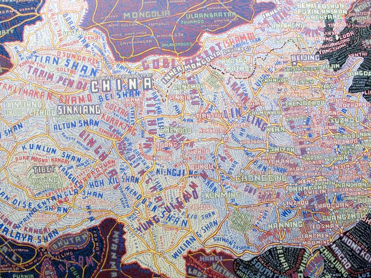 Example of one of Paula Schers  Typography maps (China)