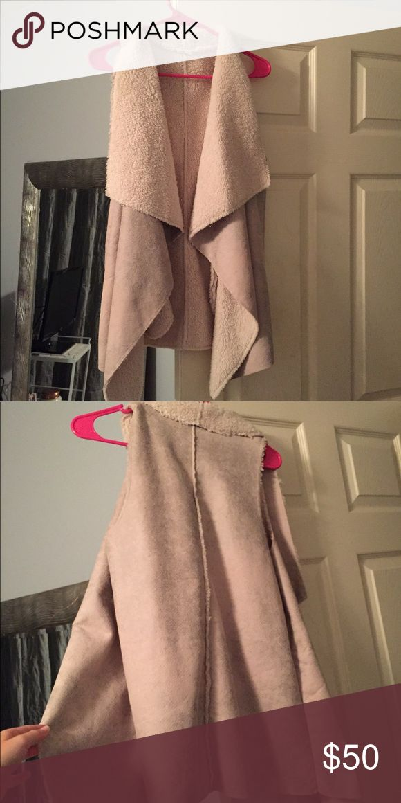 Fux sheep/leather vest Perfect condition. Pockets red dress boutique Jackets & Coats Vests