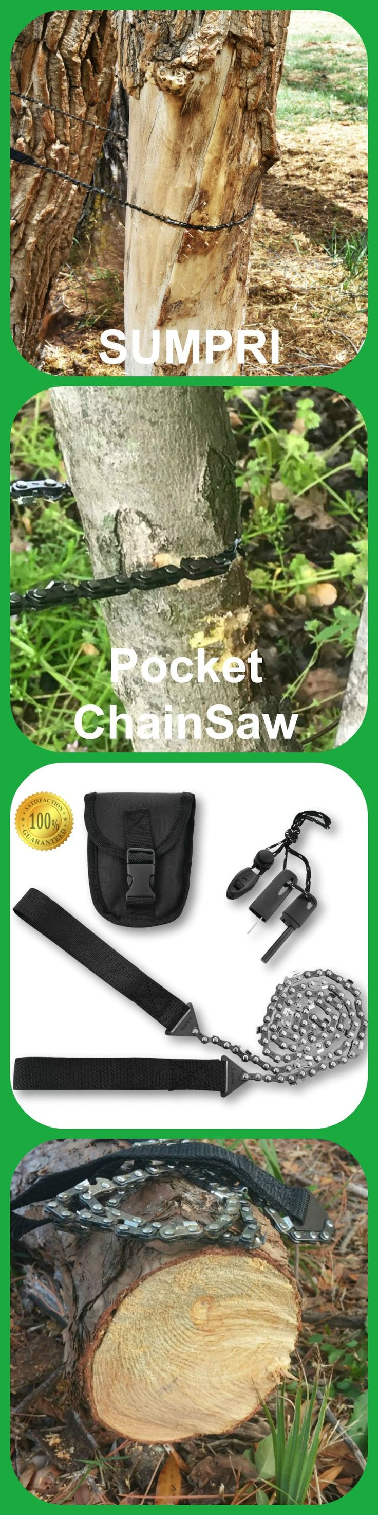 SUMPRI Camping Gear Survival Pocket Chainsaw & Fire Starter Kit - 36 Inch Compact Hand Saw & Magnesium Spark Fire Rod -Best For Hiking, Survival & Emergency Equipment, Now on Amazon.com #sumpri #pocket #chainsaw #camping #gear #fire #starter #rod #logs #garden #log #tree #boyscout #saw #handsaw #campfire #smores #smore