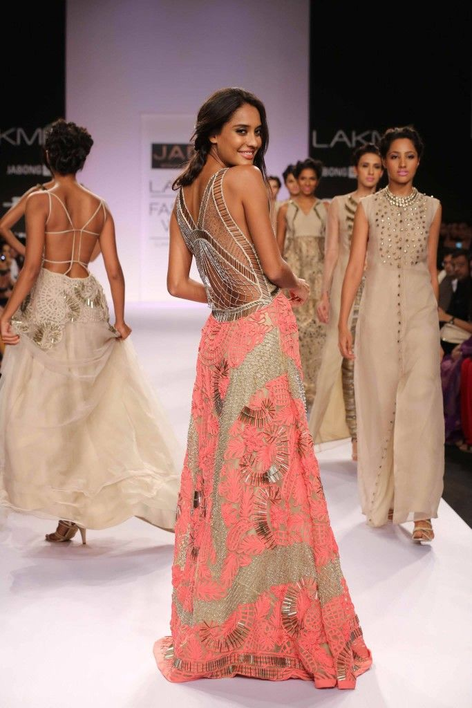 JADE by Monica & Karishma at #LakmeFashionWeek #lisahaydon