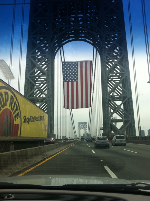 USA - This is the largest flag to fly in the USA - from the George Washington Bridge. I've heard that it's as large as a basketball court (or 2?), at the very least!