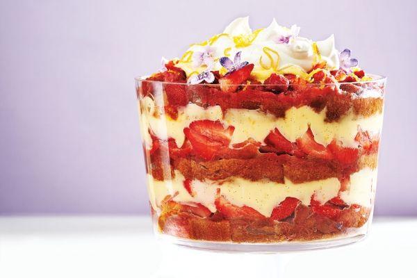 Layered Strawberry Rhubarb Trifle
