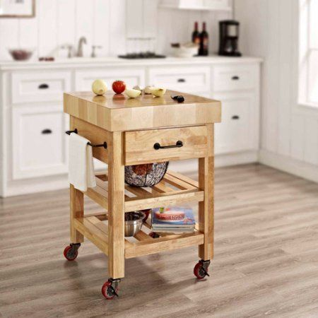Crosley Furniture Marston Butcher Block Kitchen Cart, Orange