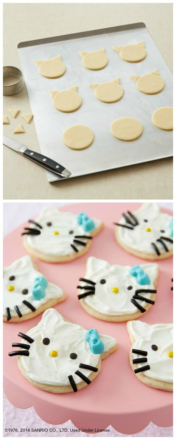 OMG, would you look at how cute these cat-shaped cookies are? Hello Kitty's whiskers, bow and nose make these quick party cookies *almost* too adorable to eat. No need for a special cookie cutter, either—click through for the easy directions!